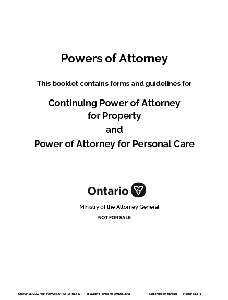 Image of the cover of publication titled Powers of Attorney