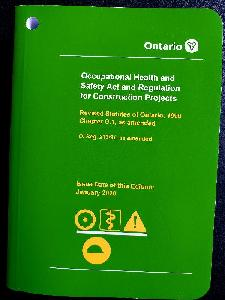 Image of the cover of publication titled Occupational Health and Safety Act and Regulation for Construction Projects, R213/91 Jan. 2020